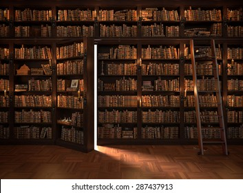 Secret door in the bookcase. Mysterious library with candle lighting. With vintage stuff