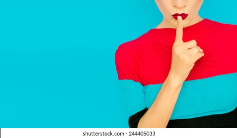 Secret Girl on blue background. Red Lips trend