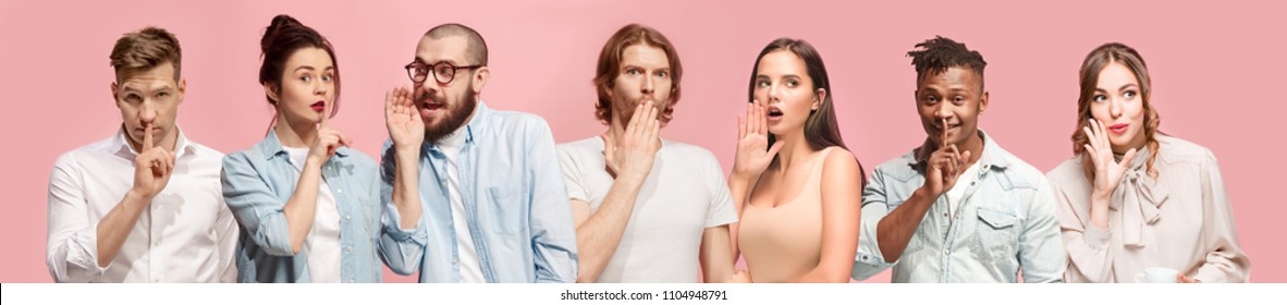 Secret, gossip concept. Young men and women whispering a secret behind hands. Business people isolated on trendy pink studio background. Young emotional menand women. Human emotions, facial expression