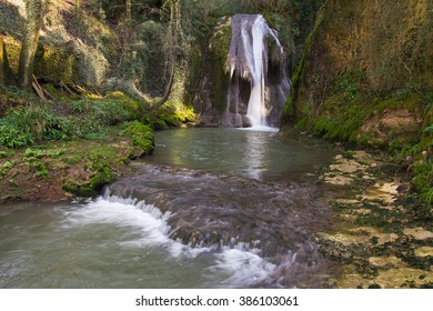 Secret lake in the forest. Photo of Marmore waterfalls (Cascate delle Marmore), Umbria, Italy.