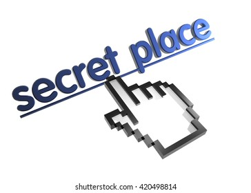 secret place. 3d rendered inscription. Link and finger, pointer. Isolated on white