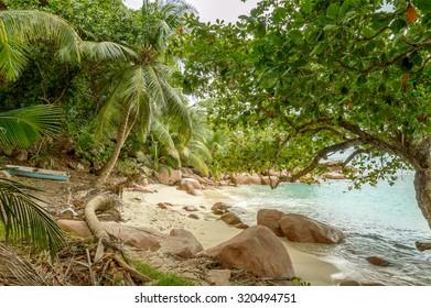 Secret place near Anse Lazio beach, Praslin, Seychelles.