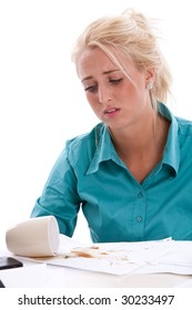Secretary behind her papers having thrown coffee over it