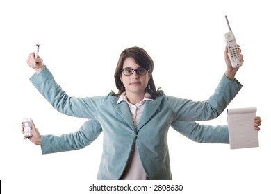 Secretary or business woman with four arms doing multiple tasks at the same time