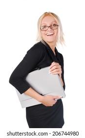 Secretary, businesswoman, isolated