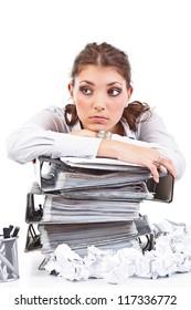 Secretary having a lot of paperwork to do