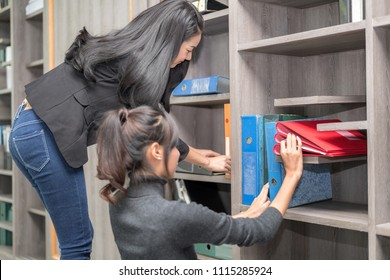 Secretary and Purchasing Manager Helping to sort out company files and Filing account file in a modern Office shelves room.
