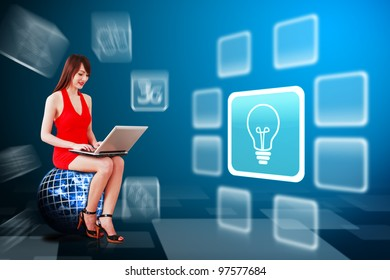 Secretary in red dress and light bulb icon : Elements of this image furnished by NASA