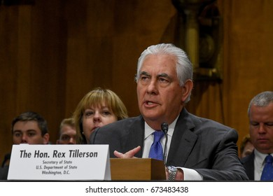 Secretary Of State Rex Tillerson testifies at the Senate Appropriations Subcommittee on State and Foreign Operations budget funding for FY 2018 in Washington, DC. June 13, 2017