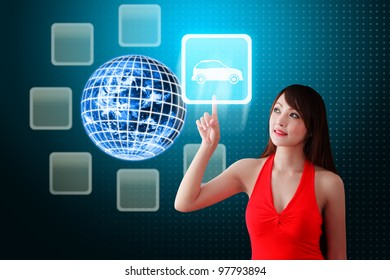 Secretary touch Car icon from the earth: Elements of this image furnished by NASA