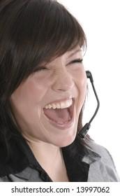 a secretary using a headphone while crying