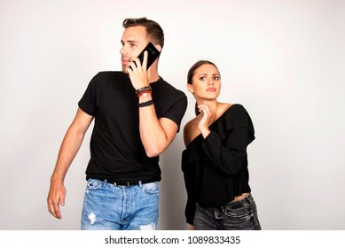 secretly listening to conversation over phone, couple relationship concept