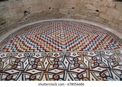 A section from 1,300 years old 7 million piece mosaic at Hisham's Palace in Jericho, Palestine. The mosaic is considered the largest of its kind in the world.