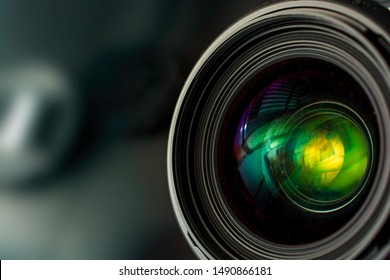 Section of a 35mm f1.4 camera lens.