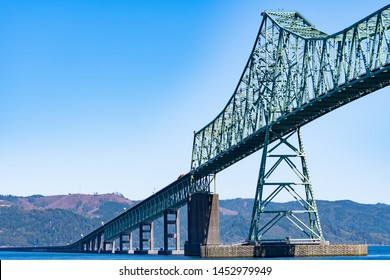 A section of the Astoria-Megler Bridge, a steel cantilever through truss bridge in the United States between Astoria, Oregon, and Point Ellice near Megler, Washington, over the Columbia River.