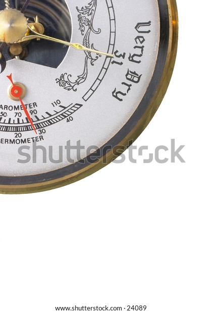"""Section of a barometer, indicating """"very dry"""", thermometer almost at 30."""