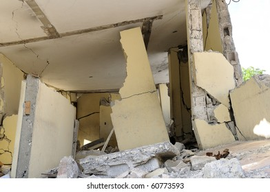 A section of a broken building.