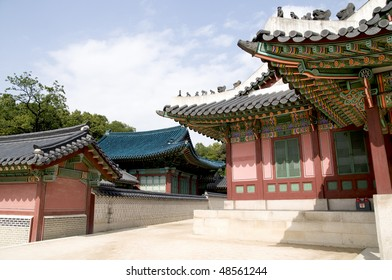 A section of the Changdeokgung Palace showing the spectacular architecture of ancient Korea.