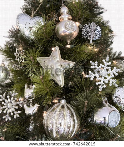 Section Christmas Tree White Silver Decorations Stock Photo Edit