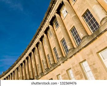 Section of the Georgian masterpiece The Royal Crescent in Bath,Somerset, England, UK.