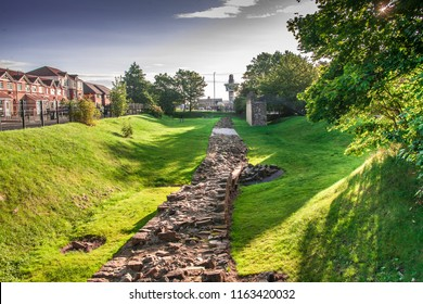 A section of Hadrian's wall at Segedunum, Wallsend in early morning