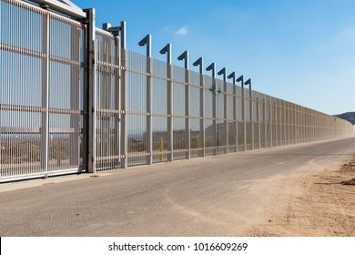 A section of the inner international border wall separating San Diego, California from Tijuana, Mexico.
