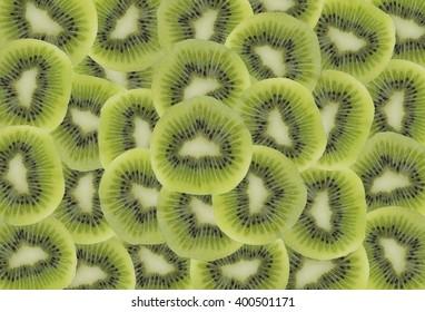 section of kiwi fruit isolated on white