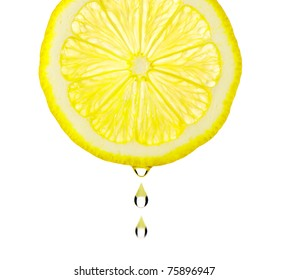 Section lemon with drop. The detailed photo on a gleam. It is isolated on a white background