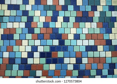 Section of Mosaic Tiles on side of Pool