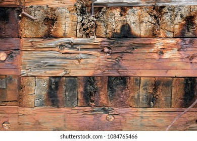 A section of an old wooden structure