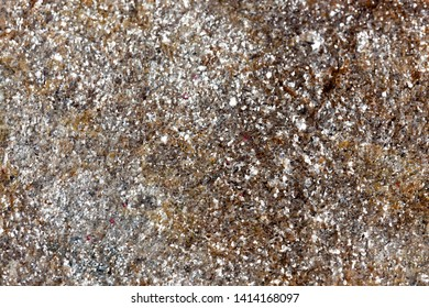 A section of rock composed of sparkly mica and quartz crystal with a light dusting of lichen moss as a background.