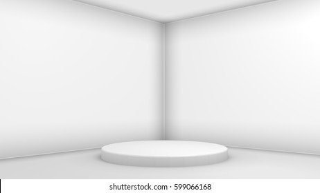 section of a room interior in a simple abstract 3d illustration