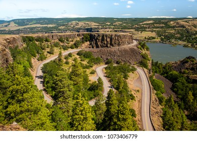 A section of the Rowena Loops highway in the Columbia Gorge National Scenic Area, Rowena Oregon