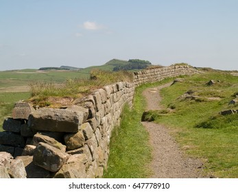 A section of the ruins of Hadrian's wall near Peel Crags, Northumberland.