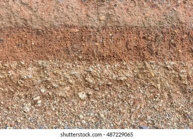 Section of soil under the asphalt road.