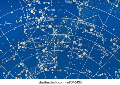Section of a star map showing the Milky Way Gemini, Orion and Pleiades area.