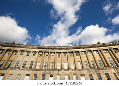 Section of the terraced Georgian properties on the Royal Crescent in Bath Somerset