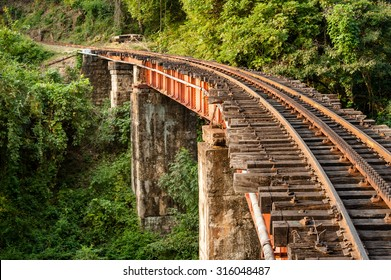 Section of the track and a bridge on the Nilgiri mountain railway at Mettupalayam.  The rack and pinion railway runs between Mettupalayam and Udagamandalam also known at Ooty, in South India.