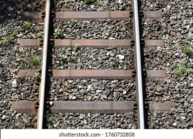 Section of train tracks from above