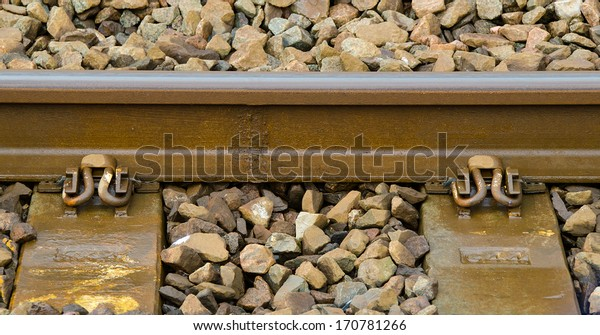 Section Welded Railway Track Showing Weld Stock Photo (Edit