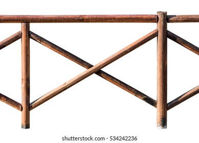 Section of a wooden railing made of round poles isolated on white