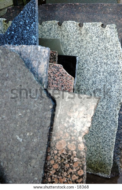 Sections of marble in a salvage yard
