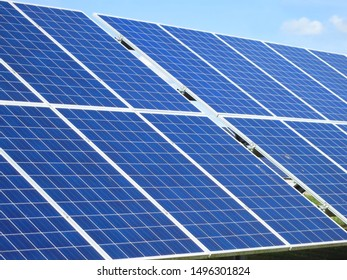 Sections of solar panels for electric power close-up