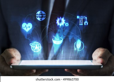 Sectoral business concept on tablet with hologram