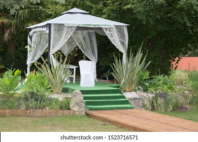 secular wedding ceremony beautiful decor in rustic style and chairs for bride and groom