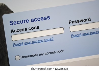 Secure access log-in web page on screen