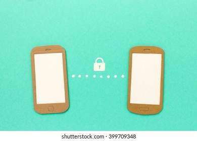 Secure communication and data transfer between two mobile phones