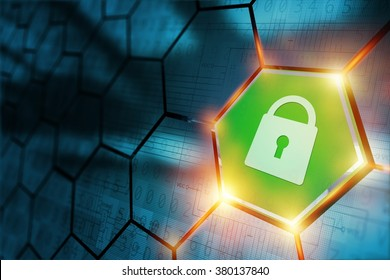 Secure Connection Concept with Safe Closed Padlock. Internet Technology Abstract.