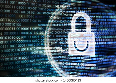 secure connection. multiple layers of binary coding and white padlock on computer monitor. cyber security concepts. safe from malware and hacker.