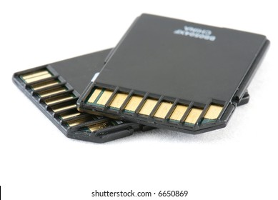 Secure Digital memory cards on white background